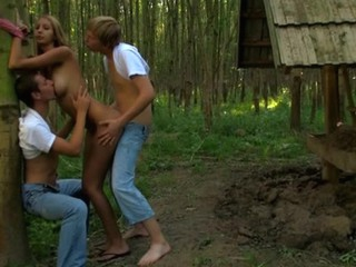 Sexy legal age teenager felonious murk is bound up for wild drillings with two studs