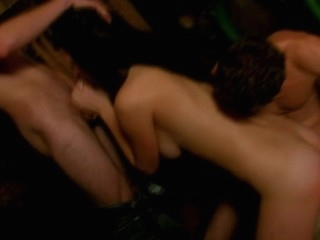 Two excited dudes are making out with a curvy and horny whore