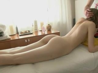 Loveliness gets her shaved twat ravished by masseur