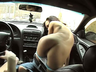 Cutie pubescent sucking dick in make an issue be required of car plus then getting gaped