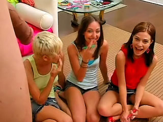 Horny teen Brandi and her girlfriends having fun with cock
