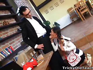 Lara went to her teacher but this day assistant classes were more fun than in advance of 'coz old guy was horny and drilled coed's constricted poon.