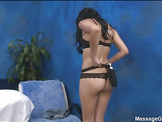 Hot 18 year old brunette slut gets fucked hard by will not hear of massage therapist!