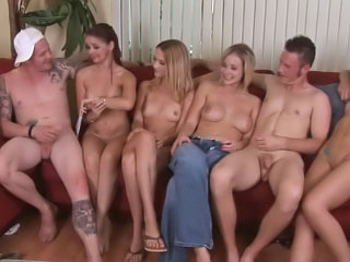 Four hot down in the mouth girls having groupsex with yoke unlucky bloke