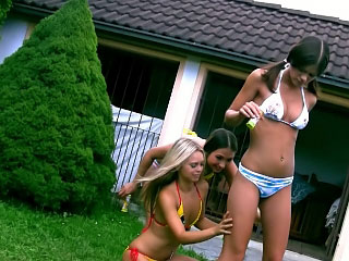 Three on the mark perfect lesbian teenies toying themselves open-air