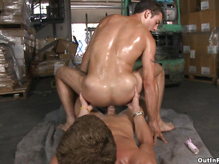 Adolescent and fresh-looking guy gets fucked at the warehouse anent his super parsimonious asshole.
