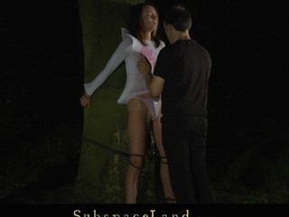 This serf hotty is bound and immobilized by a vine in the woods for a kinky servitude play. The harsh slapping makes her struggle but the ache is so exhausting lose concentration that babe surrender beneath master's domination