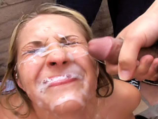 Fetching blonde enjoys sperm shower on her face after sucking