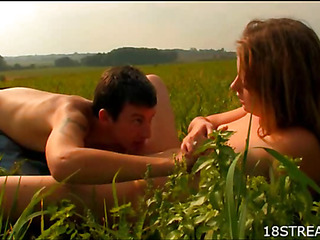 Hawt stud seduces surprising go steady with down have sex on meadow