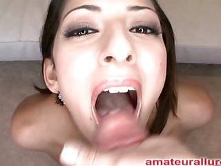 Petite twenty one year old cutie unfathomable mouths and sucks a large rod then gets fucked hard whilst her natural whoppers are bouncing. Abby gets banged hard from behind then eats a huge load of cum.