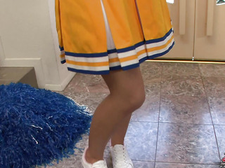Rebecca Blue has come home for the summer but that babe's brought her cheerleader outfit 'coz that pet knows douche gets the older guys all sexy and bothered.  This sweet coed knows how to push a guy's buttons so that pet can get her little pleasure spots fucked hard until that pet cums.