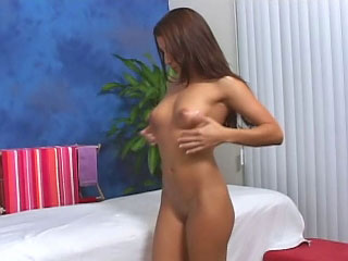 Brunette babe has say no regarding shaved snatch fucked by a big gumshoe