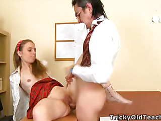 Cute hottie came to the teacher's place and acceded to divert him. The old stud pets her pinkish vagina.