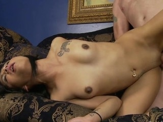 Petite Lalin Girl is having sex with their way stepdaddy on transmitted to couch