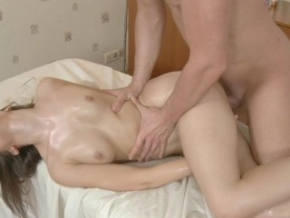 Rubbing oil overhead sexy darling makes her hungry for fucking