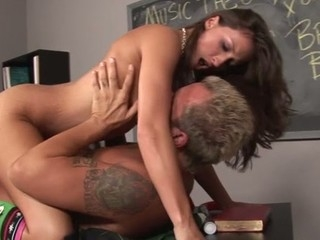A fortunate aged guy gets induction to charming schoolgirl's snatch