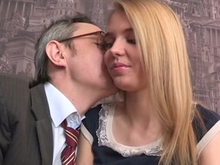 Elderly teacher is ravishing sweet sweetheart's chaste vagina