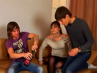 Two guys drilling attractive hot babe in enclosing drawing holes