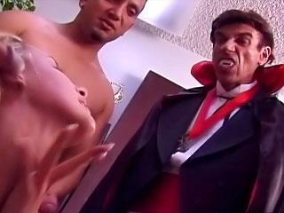 Sweet hot gorgeous babe sucking many cocks and taking cumshot