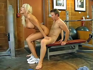 During training session pornstar Puma Swede jumps on a dick