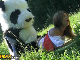 This is a story of a red-hot riding hood, but it differs from the one u were told as A a child :) The XXX teenage red-hot riding hood was walking alone in the forest, and guess whom this babe met! No, it wasn't a wolf, it was a huge and horny panda bear! That Guy wasn't gonna eat her, all that guy wanted was a fun fuck. And as A in a short time as A the hotty saw panda's dong sex-toy, this babe decided in the air go for an xxx sexual intercourse play with this respectful bear. After all, this babe loved kinky sexual intercourse toys ergo much! This of either sex gay tale has a glad ending as A panda ...