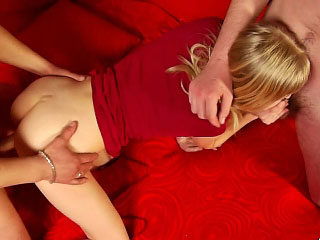 Three horny guys are going to bed naughty blonde in pussy added to ass