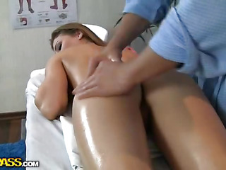 This episode shows a full multitude massage, which means that each part of sexy cuties multitude gets oiled and rubbed with skillful hands. On top of everything else boobs massage, wazoo massage... No wonder the chick gets horny pretty in a quick time and starts reaching for rod. Sexy blond starts engulfing doctors hard shlong and lets him finger her shaved constricted muff. In A Short Time they start about think the world of have a fondness mad, not giving a damn about people in the hall who might hear the moans