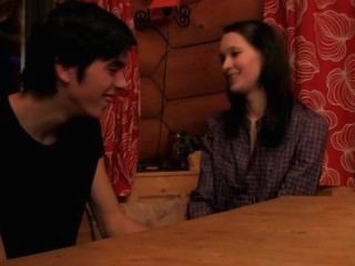 Amazing sex session with a skinny dark brown on the wooden table
