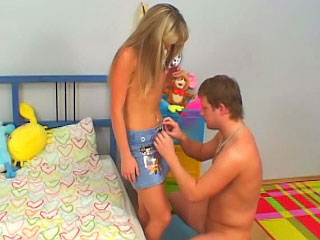 Astonishing blonde teenie suckes coupled with gets fucked by old man