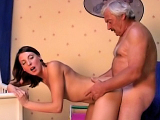 Aged dirty man shafting amateur hot brunette girl at room