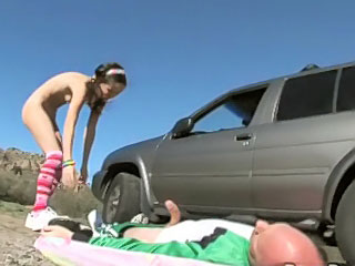 Cute gloominess teen giving age-old fart a hot blowjob outdoors