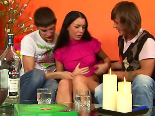 Perfect babe getting rimmed unfathomable cavity and firm by two dirty dudes