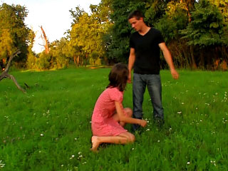 Brunette dearly refulgent cute bowels and tight cunt outdoors