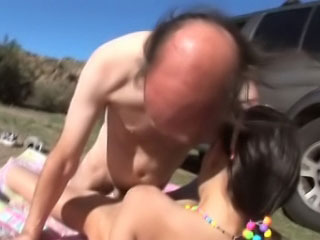 Dirty age-old fart making out beautiful and sex-mad brunette youth