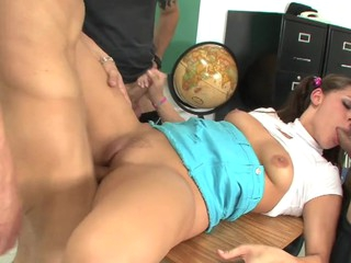 Legal Age Teenager Gracie Glam Caught In Detention With respect to three Youthful Lads!