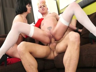 punky golden-haired and goth dark brown put a expansive ramrod in their holes