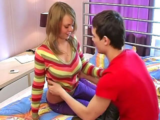 Cutie blonde teen sucking increased by getting screwed overwrought big cock