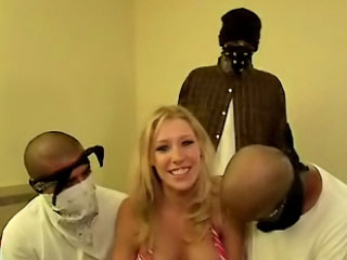 Busty chick with tasty tits sucking and screwing three guys