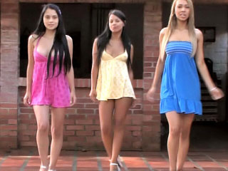 Three conscientious perfect lesbian teenies toying themselves alfresco